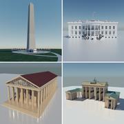 The White House, Washington Monument, Parthenon, Brandenburg gate Collection 3d model