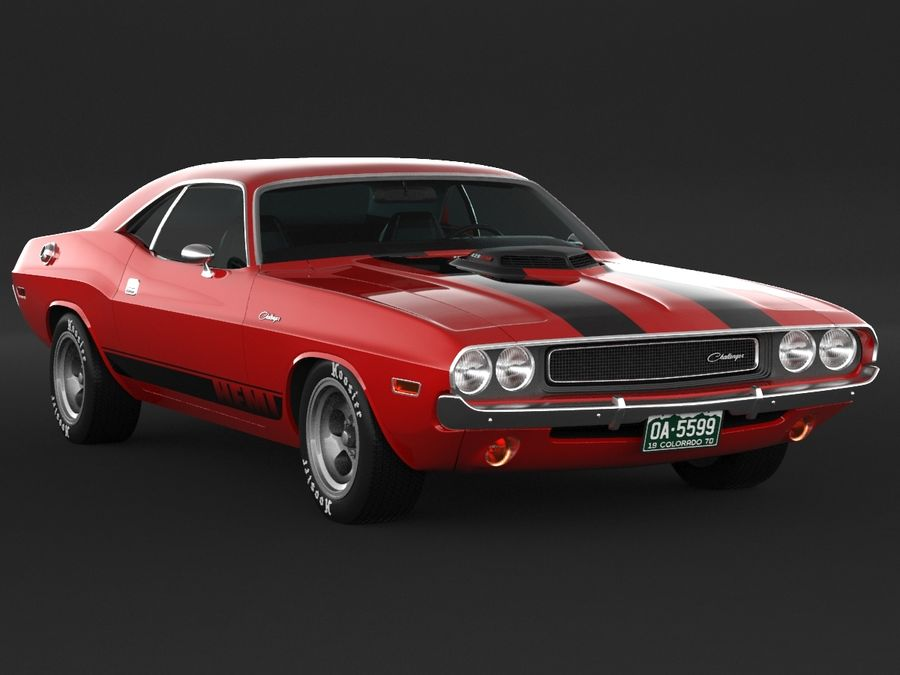 1970 Dodge Challenger Mopar royalty-free modelo 3d - Preview no. 3