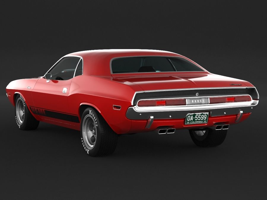 1970 Dodge Challenger Mopar royalty-free modelo 3d - Preview no. 4