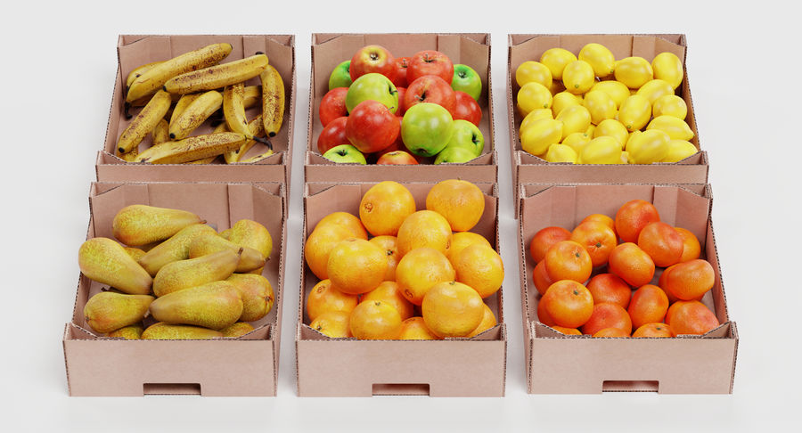 Fruit in Boxes royalty-free 3d model - Preview no. 3