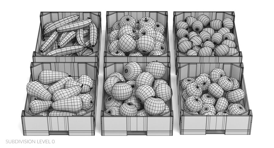 Fruit in Boxes royalty-free 3d model - Preview no. 21