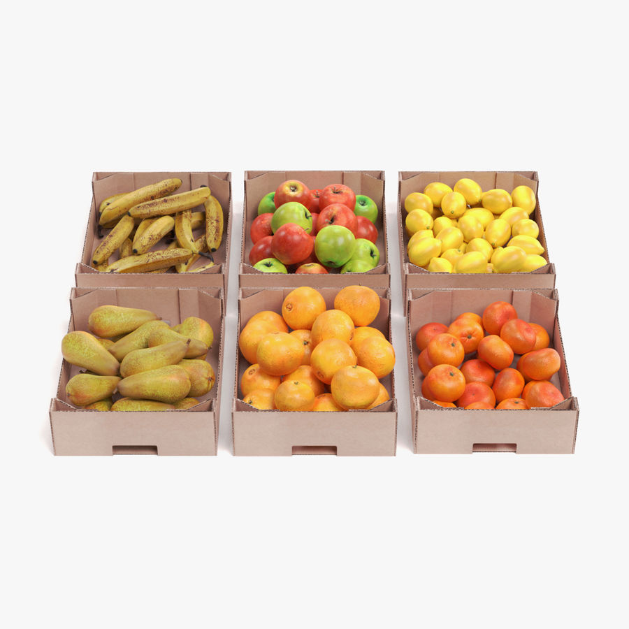 Fruit in Boxes royalty-free 3d model - Preview no. 1