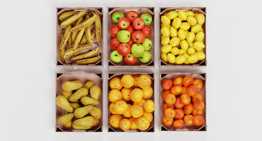 Fruit in Boxes royalty-free 3d model - Preview no. 7