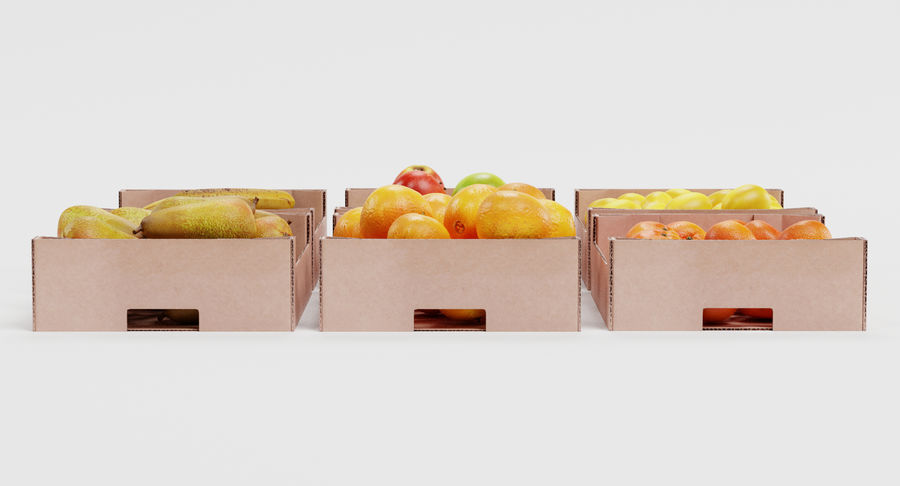 Fruit in Boxes royalty-free 3d model - Preview no. 5