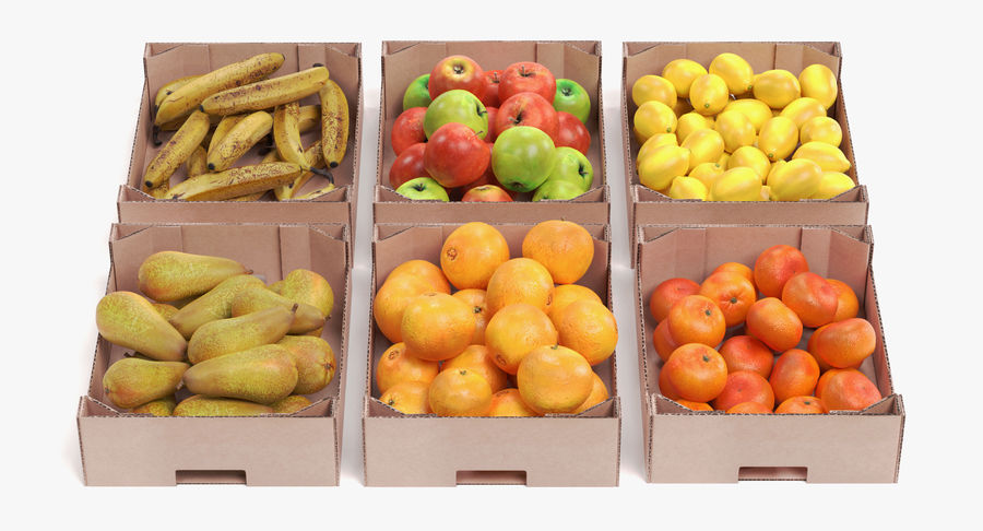 Fruit in Boxes royalty-free 3d model - Preview no. 2