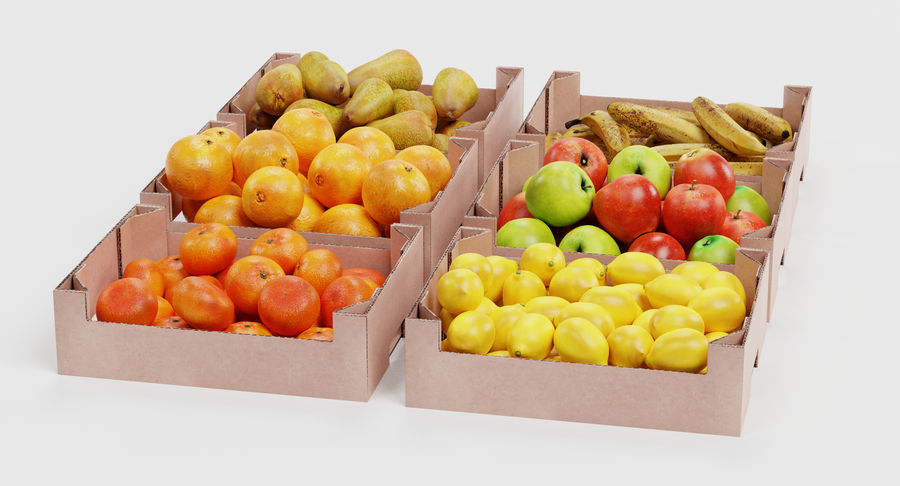 Fruit in Boxes royalty-free 3d model - Preview no. 6