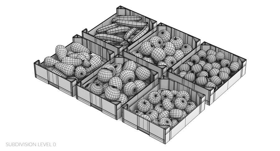 Fruit in Boxes royalty-free 3d model - Preview no. 23