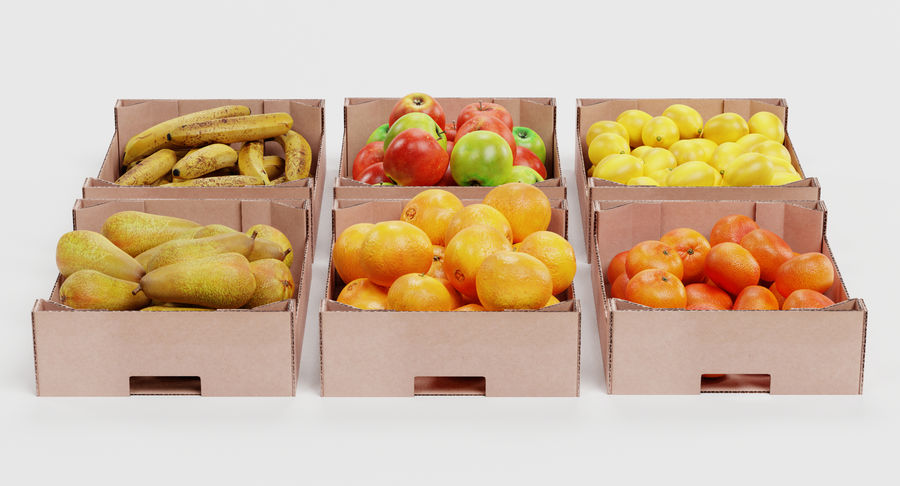 Fruit in Boxes royalty-free 3d model - Preview no. 4