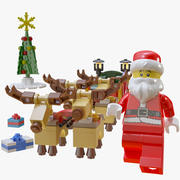 Lego Santa In Sleigh With Reindeer 3d model