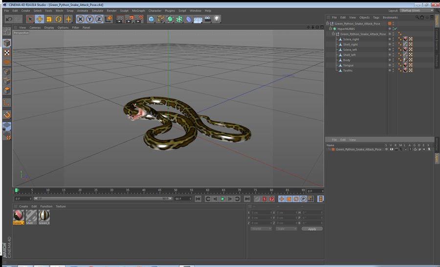 Green Python Snake Attack Pose 3D Model royalty-free 3d model - Preview no. 21