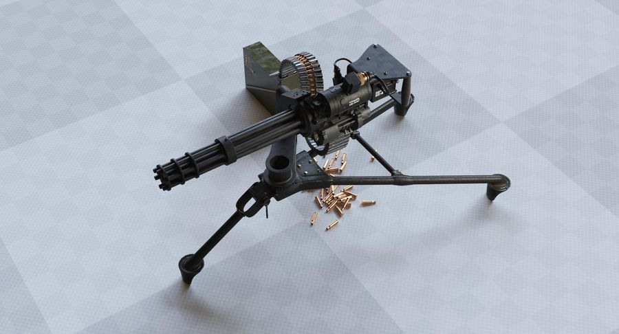Minigun(1) royalty-free 3d model - Preview no. 6
