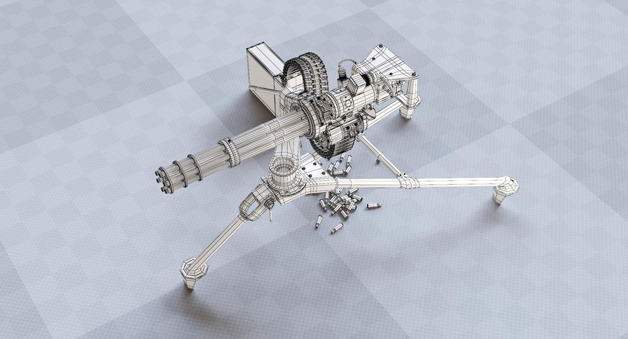 Minigun(1) royalty-free 3d model - Preview no. 23