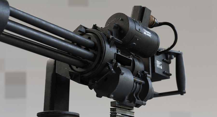 Minigun(1) royalty-free 3d model - Preview no. 10