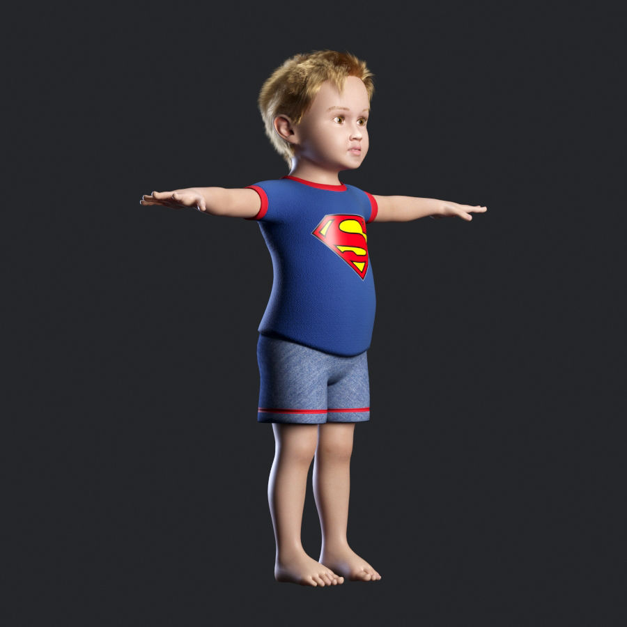 Child boy royalty-free 3d model - Preview no. 2