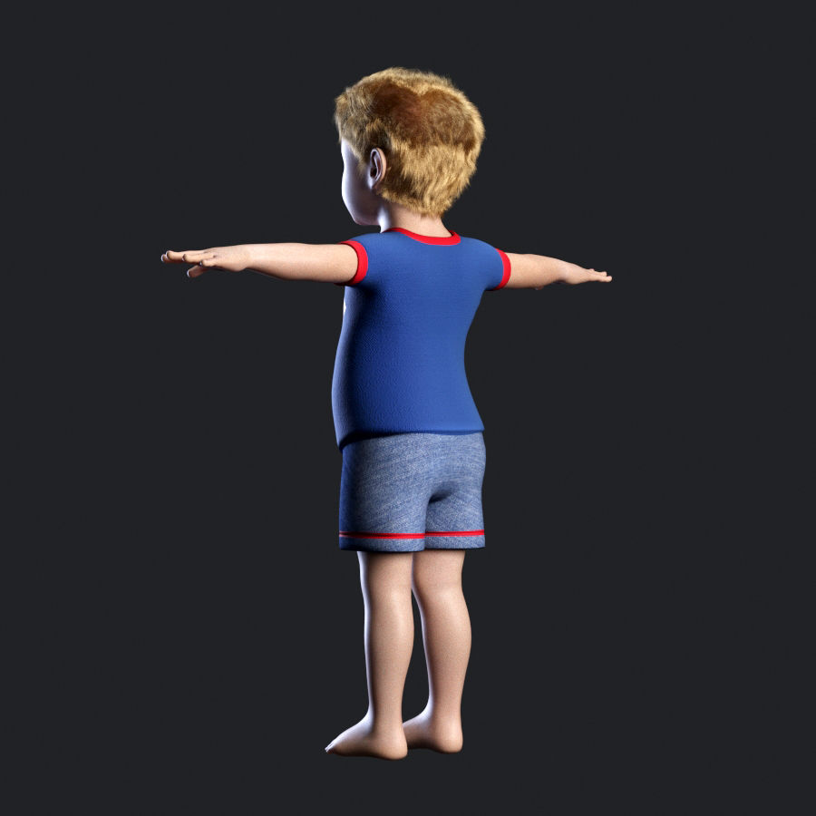 Child boy royalty-free 3d model - Preview no. 6