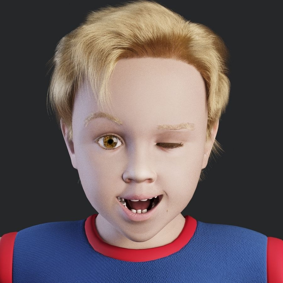 Child boy royalty-free 3d model - Preview no. 11