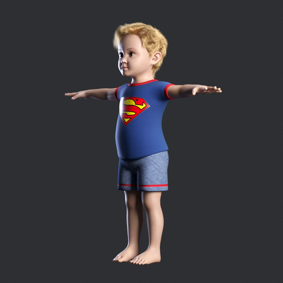 Child boy royalty-free 3d model - Preview no. 8