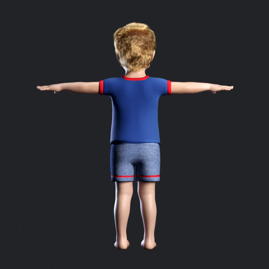 Child boy royalty-free 3d model - Preview no. 5