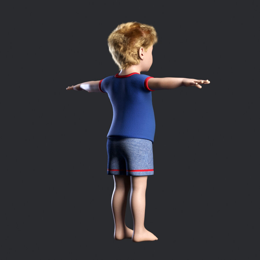 Child boy royalty-free 3d model - Preview no. 4