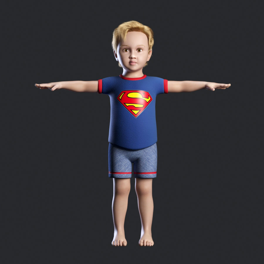 Child boy royalty-free 3d model - Preview no. 1