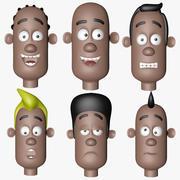 감정이 다른 만화 머리 캐릭터 3d model