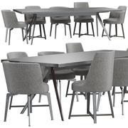 Flexform Hera椅子和Zefiro桌子 3d model