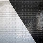 Conjunto de azulejos padrão de geometria branco e preto 3d model