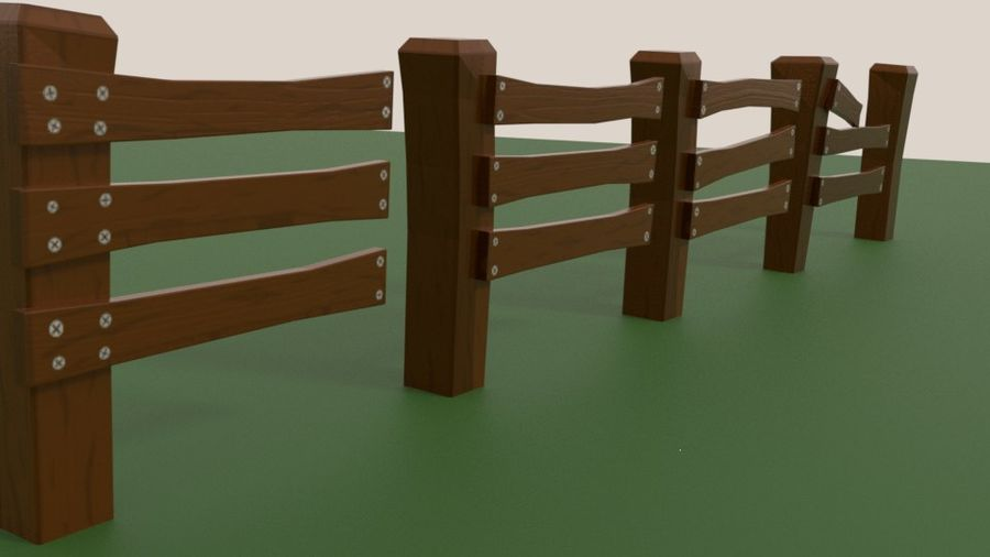 Stylised fence royalty-free 3d model - Preview no. 6
