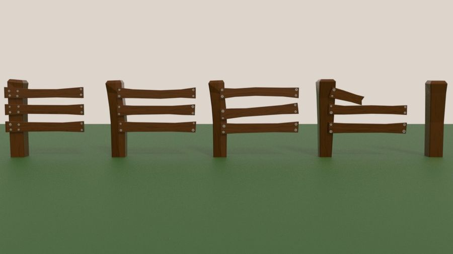 Stylised fence royalty-free 3d model - Preview no. 8