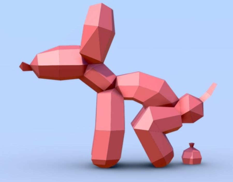 Balloon Dog royalty-free 3d model - Preview no. 7