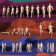 lowPoly Leute stehen, gehen, rennen, sitzen 3d model