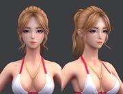 Cartoon polygon hair 02 3d model