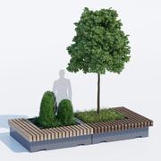 大绿色长椅树 3d model