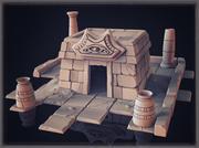 Templo de alta poli modelo 3d