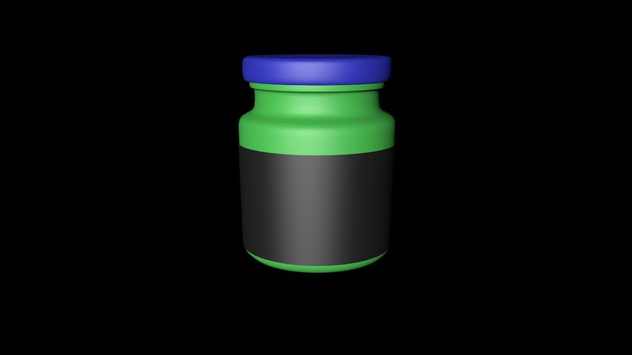 Glass jar with metal lid - mini 3D model royalty-free 3d model - Preview no. 2