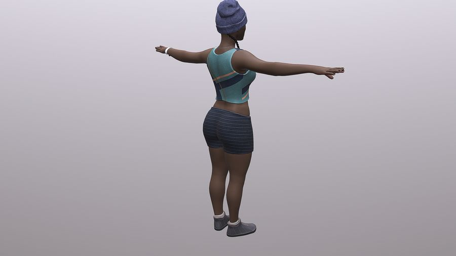 黑人妇女 royalty-free 3d model - Preview no. 10