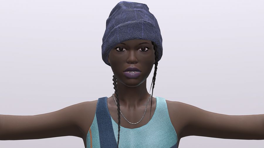 黑人妇女 royalty-free 3d model - Preview no. 2