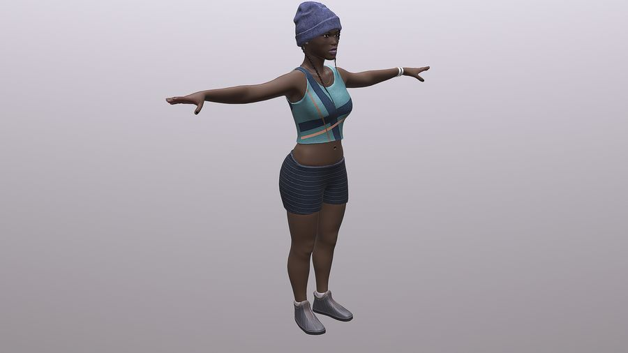 黑人妇女 royalty-free 3d model - Preview no. 8