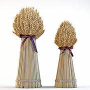 Buğday kulakların dekoratif demetleri 3d model