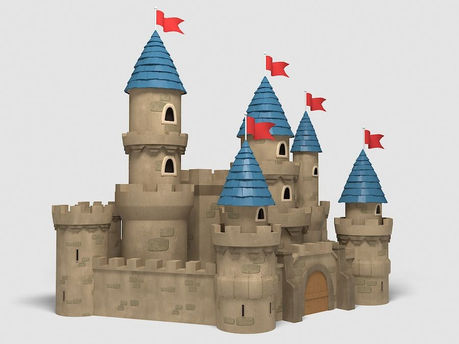 kreskówka zamek royalty-free 3d model - Preview no. 3