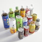 Coleção de garrafas PET de lata de bebida 3d model