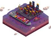Çizgi film düşük Poli deniz liman illüstrasyon 3d model