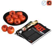 水果碗红苹果 3d model