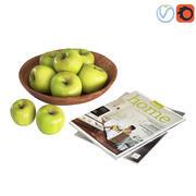 Fruktskålar Gröna äpplen (1) 3d model