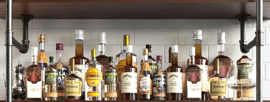 Scaffali con alcool Bar royalty-free 3d model - Preview no. 3