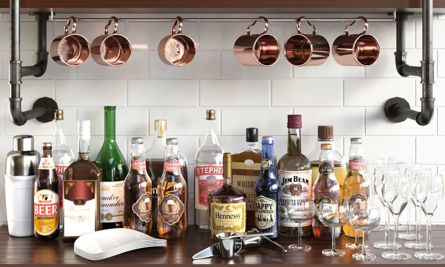 Scaffali con alcool Bar royalty-free 3d model - Preview no. 4