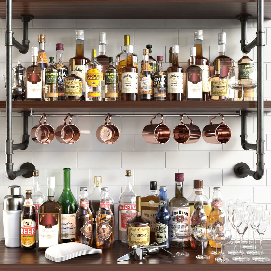 Scaffali con alcool Bar royalty-free 3d model - Preview no. 1