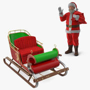 Santa Claus Holding Gift Bag and Sleigh Collection Fur Modèle 3D 3d model