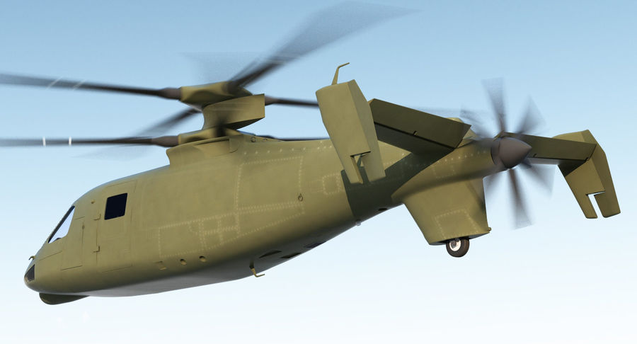 Attack Compound Helicopter Rigged Modèle 3D royalty-free 3d model - Preview no. 4