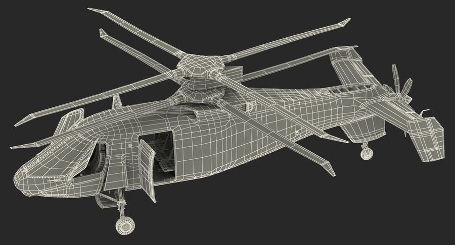 Attack Compound Helicopter Rigged Modèle 3D royalty-free 3d model - Preview no. 25